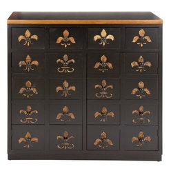 Benzara - Dresser in Brown Lacquer and Fleur De Lis Imprints - Lend a hint of subtle beauty and charm to your personal space with this wood dresser. It is an exemplar of sophistication and classy style. This beautiful dresser displays a brown lacquer, and there are Fleur de lies imprinted all over. This stylishly designed dresser features twenty well spaced drawers to accommodate all your essentials. It is equipped with spacious drawers that are equipped with wooden knobs to make them accessible. The dresser is self supported and has small wooden cups at the bottom to secure its position. It has a flat top surface that can be used to store your perfumes and make up kit. This dresser can be placed in any corner of the bedroom as it is space efficient. It is accommodating and the overall designing is simple. A fine gifting option, this wood dresser can be presented to your beloved.