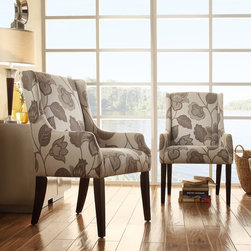 Inspire Q - INSPIRE Q Jourdan Grey Floral Sloped Arm Hostess Chair - This Kiefer hostess chair offers unparalleled comfort and style with sloping track arms and a deep,cushioned seat. This accent chair is a perfect addition to your home decor with a charming floral poppy pattern and stylish color scheme.