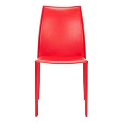 Safavieh - Korbin Side Chair (Set Of 2) - Red - Inspired by chic Italian design, the Korbin side chair will be your most sophisticated dinner guest. Crafted with white bonded leather over a sturdy metal frame, its clean transitional lines impart contemporary European style to the living room, dining room, or home office. (Sold in a set of two)