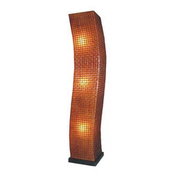 Jeffan International - Modern Star Square Serpentine Floor Lamp w Wood Base - Create a unique look and unique, luminous appeal with this serpentine-shaped floor lamp. It has a wicker grid overlay contrasts nicely against contoured profile. Pus, the brown antique finished fiberglass shade diffuses light efficiently for a focused, warm glow. Bulb not included. Requires three 40/60W bulb. Creates great ambiance. Recognized by HGTV for its innovative design. Decorated with square grid pattern. Black wooden base. Can be used in traditional or transitional spaces. 7 ft. electrical cord with on/off switch. Fiberglass (Square Lasio) and wicker. Brown/Antique Doft Finish. Made in Indonesia. 16 in. L x 16 in. W x 79 in. H x (16 lbs.)