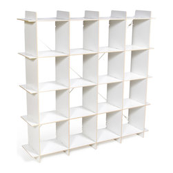 """Quark Enterprises - 16 Cubby Organizer, White - A new addition to our Cubby Organizer line, the 16 Cubby Organizer is sized right in the Goldilocks Zone: """"Just Right"""". Like our other storage furniture options, the 16 Cubby Organizer is meant to be used with our kids' storage bins. You can use it to store books and clothes or fill the bins with art supplies and other knick knacks. With so much space to put things your kids' rooms will always be neat and tidy."""