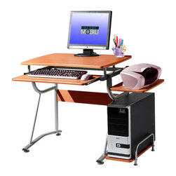 RTA Products - Techni Mobili Compact Computer Desk - Cherry - This Techni Mobili Compact Computer Desk saves space with its compact footprint. It has a simple yet sturdy design made of heavy-duty engineered wood panels with a moisture resistant PVC laminate veneer and a scratch-resistant powder-coated steel frame. It features a slide-out keyboard shelf equipped with a safety stop, a side accessory shelf, and a side CPU shelf with a protective bar. The slide-out keyboard shelf, bottom CPU storage shelf, and accessory shelf each have a 30 lb weight capacity, while the desktop can hold up to 80 lbs.