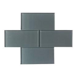 "Ocean Grey Color Glossy Subway Glass Tile 3""x6"" - Ocean Grey Color. Glossy Glass Tile 3""x6"". Price is per square foot."