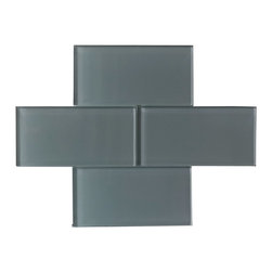 "Ocean Grey Color Glossy Subway Glass Tile 3""x6"" - Ocean Grey Color. Glossy Glass Tile 3""x6"". Price is per square foot."