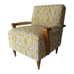 Pre-owned Modern Maze Chair in Yellow - Get lost in this cheerful yellow maze of a chair! Mid-Century lounge chair, meet gorgeous hand-printed Raoul textiles. Our proverbial have-on-a-desert-island favorite. The original wavy design marries perfectly with the Mid-Century lines of this compact chair. The wood has been virtually untouched, and is in its original condition. The fabric - Suriname by Raoul Textiles - is a beautiful acid yellow and pale oatmeal linen. Raoul Textiles is a high-end company out of Santa Barbara, available only to the design trade.     This vintage chair has all new cushioning, and is very comfortable.