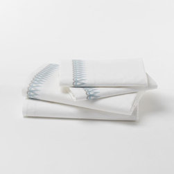 Allegra Hicks Teardrop Embroidered Sheet Set - The teardrop embroidery on these white sheets will add a subtle extra detail to a bedroom.