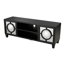 Sterling Industries - Gloss Black Media Console With Convex Mirror - Gloss Black Media Console With Convex Mirror