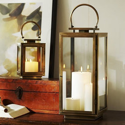 Madeline Brass Lantern - I love both the small and tall brass lanterns. They're so pretty with a candle, or they'd be so cute filled with acorns or pinecones.