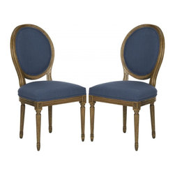 Safavieh - Bristol Side Chair - Set of 2 - Bristol Chair is a 21st century take on the classic Louis XVI oval back chair styled for transitional as well as traditional rooms. Crafted of oak in oak finish, this versatile chair is covered in navy upholstery and perfect for the dining room, or in pairs for extra seating in the living room.