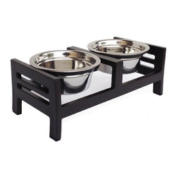 Moretti Raised Dog Diner, Xs-5h - XS - 13L x 7W x 5H with two 8 oz. stainless steel bowls