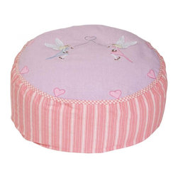 """Wingreen - WinGree Bean Bag - Fairy - Our Fairy Bean Bag is appliqued and embroidered with delicate fairies and pretty pink hearts.  Rose mini-gingham trim and rose multi-stripe sides. The removable outer cover is machine washable and the inner lining contains fire retardant polystirene beans. Size: 24"""" diameter x 11.80"""" high"""