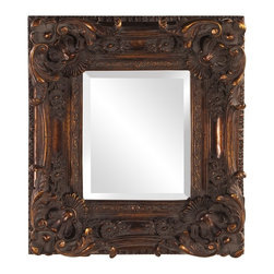Howard Elliott - Brussels Scrolled Mirror - This traditional mirror's small, square wooden frame is ornately decorated with scrolls, flowers and flourishes. All is finished in a mottled antique bronze.