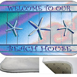 Beach House Plush Bath Mat, 30X20 - Bath mats from my original art and designs. Super soft plush fabric with a non skid backing. Eco friendly water base dyes that will not fade or alter the texture of the fabric. Washable 100 % polyester and mold resistant. Great for the bath room or anywhere in the home. At 1/2 inch thick our mats are softer and more plush than the typical comfort mats.Your toes will love you.