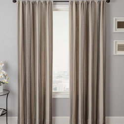 Blindsgalore Signature Drapery Panel: Azure Stripe - A bold vertical stripe is the highlight of the Azure Stripe drapery panel.  This chunky pattern is available in a range of neutrals that easily coordinates with your decor.  The linen texture of this soft fabric hangs gracefully from drapery hardware.  The stripe pattern is featured on the front and reverse sides of the panel. Blindsgalore Signature Drapery Panels provide a designer look at a budget-friendly price.