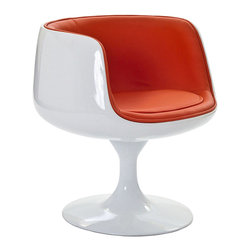 LexMod - Cup Dining Chair in Orange Vinyl - Contain far-reaching motivations in one single enclosure. With its open front and insulated fiberglass casing, the Cup Chair is a cache of stable exuberance made public. Give an appreciative tone to your room with a piece that fosters gratitude and comfort.