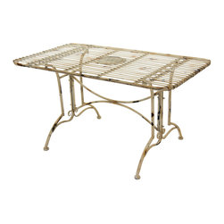 Oriental Furniture - Rustic Rectangular Garden Table - Distressed White - This rustic garden table is crafted from wrought iron and features a distressed, shabby-chic finish. Durable yet lightweight and easy to move, this table is designed with the skilled craftsmanship of an earlier era and is adorned with a floral medallion. Each table has been hand-distressed for a unique, one-of-a-kind finish that is at once fashionable and delightfully vintage. Perfect for hosting garden parties or for serving a home-cooked meal, this table will look great in your home, yard, or patio.