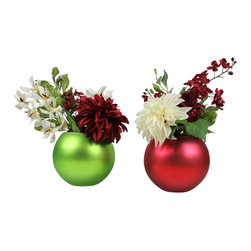 The Firefly Garden - Christmas Ornament - Illuminated Floral Design, Set - Christmas Ornament is a lovely holiday arrangement, featuring a bold white Dahlia with white and red Vanda Orchids. Choose from red or green Christmas ornament vases to illuminate the Christmas season. Uses 3 replaceable AA batteries.