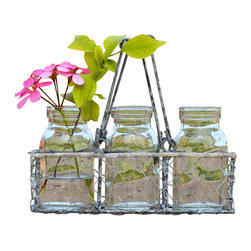 Small Rectangle Wire Bottle Tote - This small wire tote basket comes complete with 3 small scale glass milk bottles. Makes for a terrific floral display!