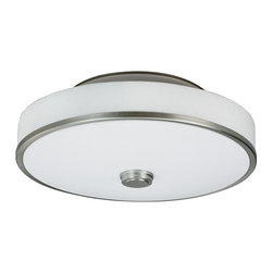 AFX - Sheridan Semi Flush Mount Ceiling Fixture - Includes one bulb and 120-277V lamp. Transitional style. 20-gauge spun steel canopy and back pan. Electronic ballast. Can be used in corridors, elevator lobbies and entryways. Decorative trim ring is stamped steel. Aluminum finial die cast. Standard mounting gem bar and hardware. Hard back linen shade. 0.80 in. matte white acrylic domed bottom diffuser. 0.1 in. thick vacuum formed acrylic linen patterned shade. Shades are secured with a center finial. UL listed for damp location. Bulb type: C2C T5. 3000K with CRI of 82 lamp. Maximum wattage: 40 Watts. Warranty: Two years limited. 16 in. Dia. x 6 H (6.10 lbs.). Specifications. Assembly Instructions