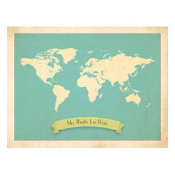 Rebecca Peragine Inc / Children Inspire Design - My Roots Personalized World Map in Blue 24x18 Wall Art Poster - Our new My Roots Collection - delightfully charming maps filled with deep meaning for little ones. Not only is the art beautiful for both big and small, but the collection tells a story of how families come together from all parts of the world. Our art shows a child where family roots lie, a place they are connected to, whether it's ten or ten thousand miles away.  Parent and child can customize their own art by using heart stickers to locate and highlight a child's roots. A teaching moment that will last throughout the years. 24x18 Wall Art Poster with four unattached heart stickers