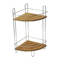 Metal Corner Caddy with Pivoting Hook / Bamboo Shelves / Chrome - This corner caddy is made of stainless steel and features 2 shelves in durable bamboo and hanging hooks for keeping shampoos, conditioners, soap, razors closer and within reach. Top pivoting hook holds the caddy securely in place on most pipes. Dimensions are height of 14.4-Inch, width of 7.7-Inch and length of 7.7-Inch. No assembly required. Clean with warm soapy water. Color bamboo and chrome. This shower caddy will add a natural design to your shower and will offer useful storage in any bathroom! Complete your decoration with other products of the same collection. Imported.