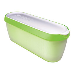 Tovolo Glide-A-Scoop Ice Cream Tub - Pistachio - Finally  an Ice Cream Tub that neatly stores 1.5 quarts of homemade ice cream  gelato and sorbet.  The Tovolo Glide-A-Scoop ice cream tub features a non-slip base that steadies the container as you effortlessly scoop along the slender tub. Slim design to fit into any tightly packed freezer or freezer door!  Product Features      Extra long profile guides the perfect scoop   Non-slip base steadies tub while you scoop   Insulated tub stores compactly in freezer