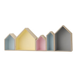 Imported. - Row Houses Box Shelf - Pastel - House Box Shelf. Measures 37.4 W x 13.8 H x 6.30 D.