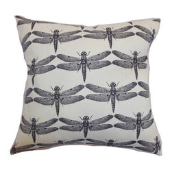 The Pillow Collection - Nkan Dragonfly Pillow Black - This unconventional dragonfly throw pillow is a symbolic decor piece which you can add to your interior. This accent pillow symbolizes the beauty of transformation. The black and white color combination gives this square pillow a striking twist. Decorate your sofa, bed or chair with this scene-stealing statement pillow. Crafted from a blend of 95% soft cotton and 5% linen fabric. Hidden zipper closure for easy cover removal.  Knife edge finish on all four sides.  Reversible pillow with the same fabric on the back side.  Spot cleaning suggested.