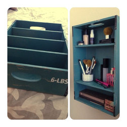 Home Improvement - Drawer (left) repurposed for wall shelves (right) to allow easy access to everyday items. Drawer was $15.99 at Hobby Lobby. D-hooks were used for mounting.