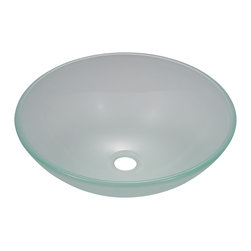 "MR Direct - Frosted Glass Vessel Sink - The 602 frosted glass vessel sink is manufactured using fully tempered glass. This allows for higher temperatures to come in contact with your sink without any damage. Glass is more sanitary than other materials because it is non-porous, will not absorb stains or odors and is easy to clean. This classic bowl-shaped vessel is made with frosted glass that adds a softer look to the traditional clear glass sink. A matching glass waterfall faucet is available to correspond with this sink. The overall dimensions for the 602 are  and an 18"" minimum cabinet size is required.  As always, our glass sinks are covered under a limited lifetime warranty for as long as you own the sink."