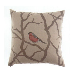 "Canaan - 24"" x 24"" Pyrhulla Robin Bird on Branch Print Fabric Throw Pillow - 24"" x 24"" Pyrhulla robin bird on branch print fabric throw pillow with a feather/down insert and zippered removable cover. These pillows feature a zippered removable 24"" x 24"" cover with a feather/down insert. Measures 24"" x 24"". These are custom made in the U.S.A and take 4-6 weeks lead time for production."