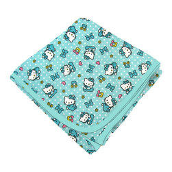 SheetWorld - SheetWorld Flannel Receiving Blanket - Hello Kitty Blue - Made in USA - Receiving Blanket is made from a double layer of the finest 100% cotton flannel material and is reversible. It's finished off with a matching cotton binding. Features the one and only Hello Kitty! Perfect blanket for your perfect baby. (matching sheets available)