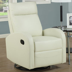 "Monarch - Ivory Bonded Leather Swivel Rocker Recliner - This contemporary design accent chair combines 3 functional elements.....it swivels......it rocks.....and it reclines, ensuring that you are always in a comfortable position. This ivory bonded leather chair with a padded head rest was designed for ultimate comfort. Whether reading a book or watching sports this will be the chair that everyone will want to sit on. The easy glide motion and the contemporary design makes it a chic and fashionable addition for your den, bedroom, living room or basement. It truly is a chair for any room in your home.; Color: Ivory; Country of Origin: China; Weight: 88 lbs; Dimenions: 28.5""L x 36""W x 41""H"