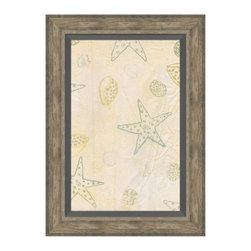 Sea Stars and Shells Framed Giclee - Recall a holiday along the shore, when sea stars passed among the swells and the twinkle of laughter passed the time. Pale stars and shells and sea urchins, evincing charm in whimsical detail, present a soft contrast to a quiet backdrop of creamy peach and ivory. This simple yet enchanting artwork lends a breezy aesthetic to your summerhouse, bayside bungalow, or seaside-inspired great room.