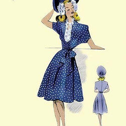 """Buyenlarge.com, Inc. - Summer Polka-Dot Dress and Hat - Gallery Wrapped Canvas Art 28"""" x 42"""" - Another high quality vintage art reproduction by Buyenlarge. One of many rare and wonderful images brought forward in time. I hope they bring you pleasure each and every time you look at them."""