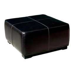 Wholesale Interiors - Baxton Studio Square Ottoman - This Wholesale Interiors ottoman is a versatile piece useful in any room of your home. This elegant ottoman provides styles which allows you to match your existing leather sofa set. Frame built to last with sturdy construction consisting of kiln dried hardwood frame, with high density foam padding. Durable polyurethane coated leather upholstery for longer lasting use and stain resists for easy clean up. Contemporary clean line design with tapered down base. Leg constructed with solid rubber wood with veneer finish completes with elegant smooth, clean lines design. This Ottoman offers up the perfect way to sit back and relax. The perfect combination of quality craftsmanship with simple and sophisticated designs, that will instantly enhance any room decor.