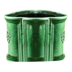 Amalfi Terra Cotta Petal Planter Green - Set of 3 - Nested, clustered, or placed in a neat row, the Amalfi Terra Cotta Petal Planters are a grand trio with Greco-Roman heritage. Their multi-petaled shape, rolled lip, and floral medallion walls give weight to a graceful look, while coffered curves give a sense of architectural permanence to the three planters. Overall, this set is a grand and historical addition to the upscale garden.