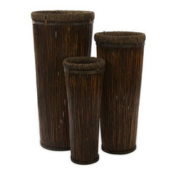 Langham Tall Willow Planters - Set of 3 - Exotic, dark brown set of three tall planters in graduated sizes. Made of willow.