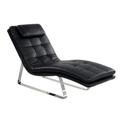 Chintaly - Chintaly Corvette Upholstered Chaise Lounge - CTY1383 - Shop for Chaises from Hayneedle.com! A lounge chair you'll display with pride the Chintaly Corvette Upholstered Chaise Lounge fits your space perfectly. This comfortable lounger is made with a steel frame and polished chrome base. It's armless design well-placed curves and headrest will cradle you in comfort. It's upholstered in full bonded black leather with square tufting. About Chintaly ImportsBased in Farmingdale New York Chintaly Imports has been supplying the furniture industry with quality products since 1997. From its humble beginning with a small assortment of casual dining tables and chairs Chintaly Imports has grown to become a full-range supplier of curios computer desks accent pieces occasional table barstools pub sets upholstery groups and bedroom sets. This assortment of products includes many high-styled contemporary and traditionally-styled items. Chintaly Imports takes pride in the fact that many of its products offer the innovative look style and quality which are offered with other suppliers at much higher prices. Currently Chintaly Imports products appeal to a broad customer base which encompasses many single store operations along with numerous top 100 dealers. Chintaly Imports showrooms are located in High Point North Carolina and Las Vegas Nevada.
