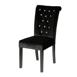 Cortesi Home - Cleopatra Dining Chair (Set of 2), Black Velvet - The Cleopatra chair is unmistakable luxury with its featured diamond tufting and rolled back design. This Parson dining chair is adorned with crystal decorative gems on the front and a brass nail-head trim on the back. A solid wood frame is used for strength and durability.