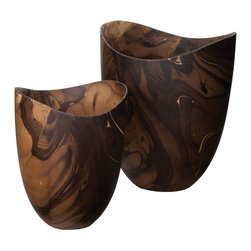 Lazy Susan - Lazy Susan 398014 Dry Marbled Wood Vase - Small - Stunning and richly colored, this vase is meant to stand out. With a hand crafted finish it features swirls of contrast while providing a modern shape. Be forewarned, this vase is not water safe, so placing your fresh flowers inside isn't advisable. It is best used as a decorative piece.
