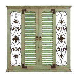 UMA - French Motif Shuttered Wood Wall Pattern - Louver shutters, antique style pulls, fleur de list scrolling and distressed finish add high style to the wall hanging.