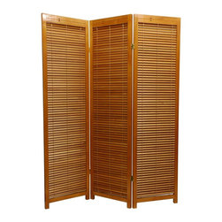 Honey Scandinavian Spruce Multi-panel Privacy Screen - Do you have a spot you want to block off from the main view of the room? Perhaps a cluttered home office area or a spot to stash the big toys? This simple Scandinavian Spruce panel allows you to open the blinds in case you want to block a large window or see what's going on behind it!