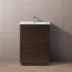 Vigo - Vigo 24-inch Saba Freestanding Single Bathroom Vanity - The VIGO Saba Vanity features a white and ceramic sink and includes push to open and push to close cabinet door hardware.
