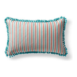 Frontgate - Fairway Stripe Green Outdoor Lumbar Pillow - 100% Sunbrella® solution-dyed acrylic fabric. Finished in Aruba eyelash fringe. Resists fading, mold and mildew. High-density polyester fill. Spot clean with mild soap and water; air-dry only. Bursting with welcoming texture and pattern, the Sunbrella Fairway Stripe Tropical Outdoor Lumbar Pillow will instantly enhance your outdoor setting. Embellished with intricate Aruba eyelash fringe and constructed of all-weather fabric, this exclusive pillow maintains its radiance through seasons of use. 100% Sunbrella solution-dyed acrylic fabric .  .  .  .  . Zipper closure . Made in the USA.