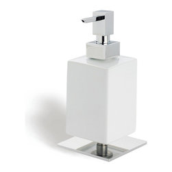 StilHaus - Square White Ceramic Soap Dispenser with Brass Base, Chrome - Free-standing contemporary style hand soap dispenser. Soap dispenser container is made out of ceramic with a white finish. Hand soap dispenser base and hand pump are made out of brass with a polsihed chrome or satin nickel finish. Made in Italy by StilHaus. Contemporary hand soap dispenser. Container made out of ceramic in a white finish. Bathroom counter top gel dispenser. From StilHaus Urania Collection.