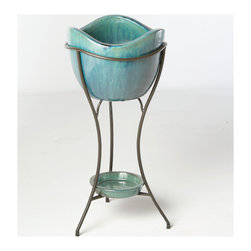 Alfresco Home - Alfresco Home Garden Olas Elevated Planter & Beverage Cooler - Azul - Combining classical style and affordable pricing Alfresco home and patio is a dealer and importer of furnishings décor and accessories. With a focus on European designs Alfresco offers a wide variety of styles with an emphasis on cast aluminum pieces.  Alfresco Home offers a full line of dining and deep-seating pieces as well as indoor accent furniture and garden accent furniture. Alfresco has a variety of casual style aluminum wrought iron and wicker sets. Features include Use as a beverage cooler or a garden planter Kiln fired earthenware vessles Hand-made by skilled artisans Variations in color texture and form are not considered defects but rather one of a kind features Complete with a drainage plug and wine cork Glazed pottery should not be exposed to freezing temperatures. We recommend storing in a dry location during winter months. Wipe clean with a soft cloth and water do not use harsh chemicals..