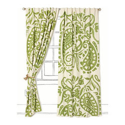 Lakarri Curtain - Green is one of my favorite neutrals. It is a nod to the outdoors and adds a touch of life to any space. You can add any other color to the green in your space. Wouldn't these be beautiful in a dining room or breakfast nook?