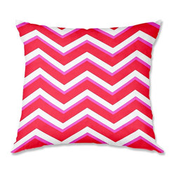 DiaNoche Designs - Pillow Woven Poplin from DiaNoche Designs by Monika Strigel Layer Red Pink - Toss this decorative pillow on any bed, sofa or chair, and add personality to your chic and stylish decor. Lay your head against your new art and relax! Made of woven Poly-Poplin.  Includes a cushy supportive pillow insert, zipped inside. Dye Sublimation printing adheres the ink to the material for long life and durability. Double Sided Print, Machine Washable, Product may vary slightly from image.