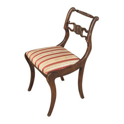 Antiques - Vintage English Mahogany Regency Side Chair - Country of Origin: England Circa: 1960 Mahogany Construction Regency Style Turned Top Rail Horseshoes & Floral Carvings Comfortable Seat Burgundy & Cream Striped Seat Saber Legs Strong & SturdyThis is a beautiful vintage English mahogany Regency striped occasional side chair. It features a gorgeous back that has a turned top rail with vase and rings,  a distinguished horizontal carved splat with horseshoes and a floral design on its center and it has very attractive shaped stiles. The seat is very comfortable and it has a beautiful fabric with burgundy and cream stripes adorned with bouquets of flowers. In addition it has traditional saber legs.This piece may show minor age appropriate signs of wear including minor wood imperfectionsbut as shown it is overall in very good cosmetic and structural condition and it is strong and sturdy. It is a lovely chair that will blend well with many decors.